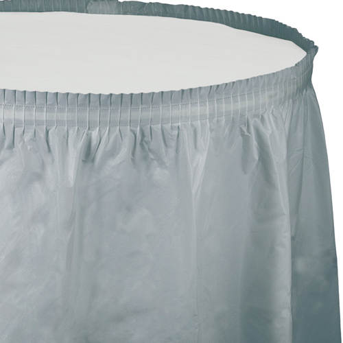 Silver Gray Plastic Table Skirts