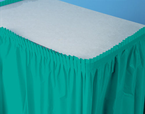 Tropical Teal Plastic Table Skirts