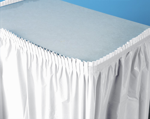 White Plastic Table Skirts