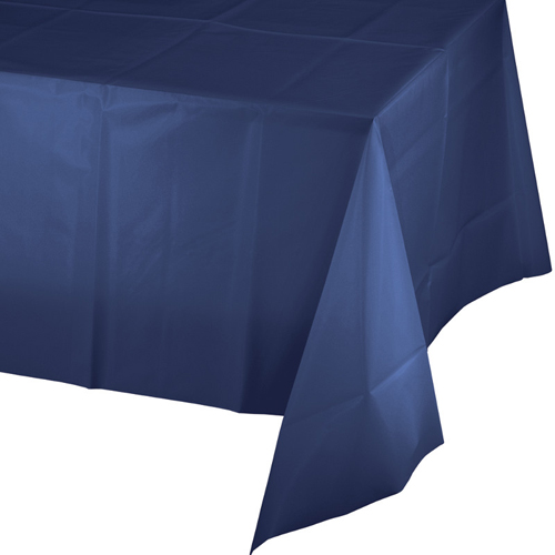 Navy Blue Disposable Plastic Table Covers - 12 Count
