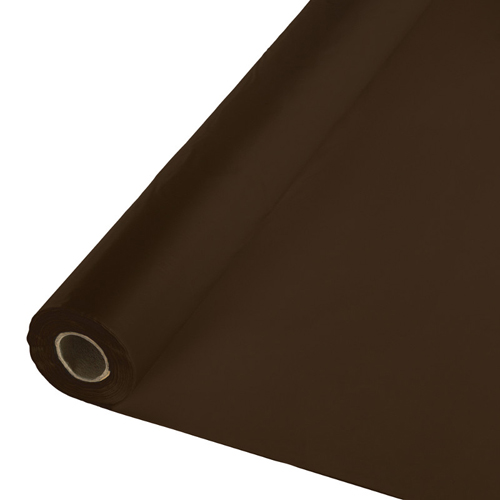 Chocolate Brown Plastic Table Covers - Rolls