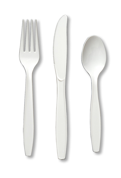 White Plastic Silverware - Assorted