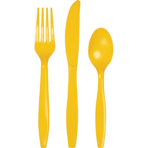 School Bus Yellow Plastic Cutlery - Assorted
