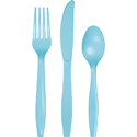 Pastel Blue Plastic Cutlery - Assorted