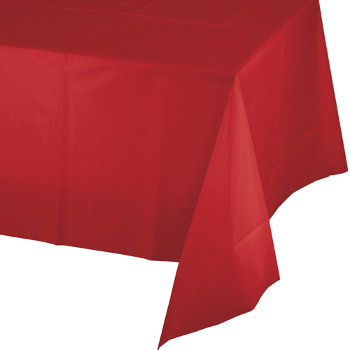 Classic Red Plastic Banquet Table Covers - 12 Count