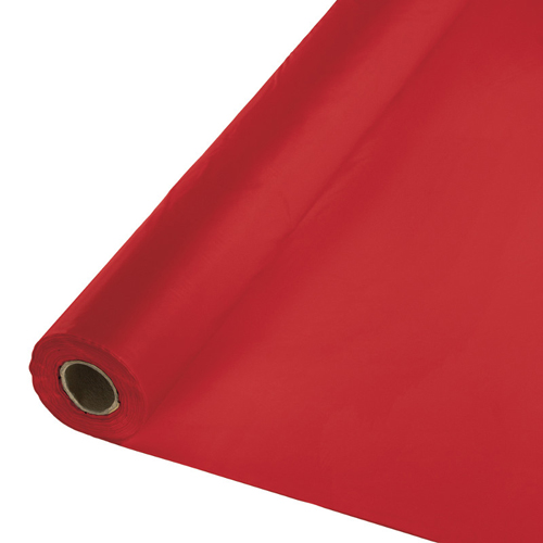 Classic Red Disposable Plastic Table Covers  - Rolls