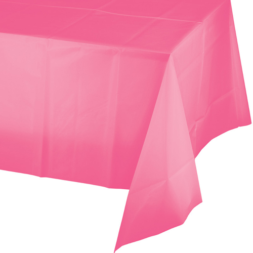 Candy Pink  Plastic Tablecloths - 12 Count