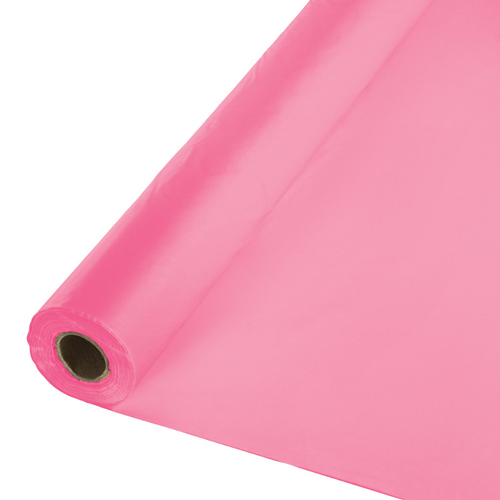 Candy Pink Plastic Table Cover Rolls