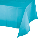 Bermuda Blue Plastic Banquet Table Covers - 12 Count