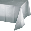 Silver Gray Plastic Banquet Table Covers - 12 Count