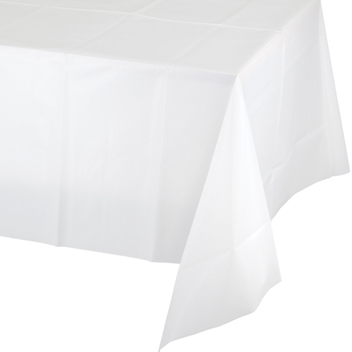 White Plastic Banquet Tablecloths - 24 Count
