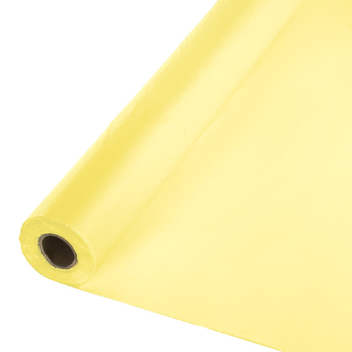 Mimosa Yellow Disposable Plastic Table Cloths - Rolls