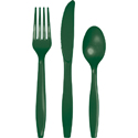 Hunter Green Plastic Cutlery - Assorted