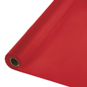 Classic Red Disposable Plastic Tablecloth Rolls - 300 Feet Lightweight