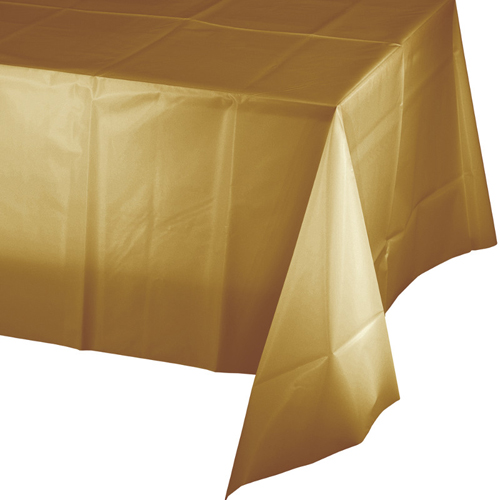 Gold Plastic  Banquet Table Covers - 12 Count