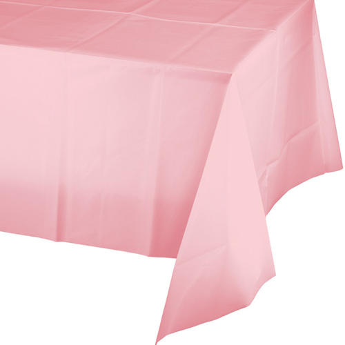 Pink Plastic  Banquet Tablecloths - 12 Count