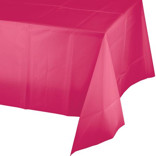 Hot Magenta Plastic Tablecloths - 12 Count