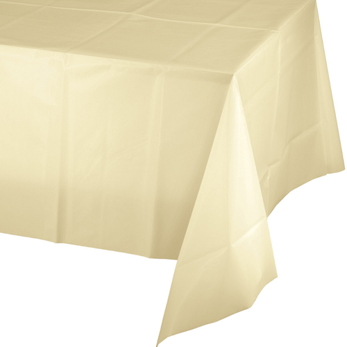 Ivory Plastic Banquet Tablecloths - 24 Count