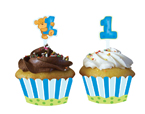 Teddy Bear First Birthday Cupcake Wrappers and Picks - Boy
