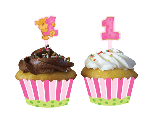 Teddy Bear Cupcake Wrappers & Picks - Girl