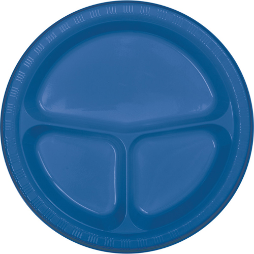 True Blue Divided Plastic Banquet Dinner Plates