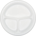 White Divided Plastic Banquet Dinner Plates