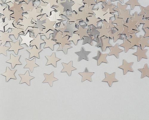 Silver Star Confetti - Metallic