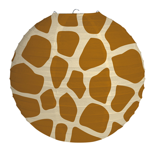 Animal Print Round Paper Lanterns - Giraffe
