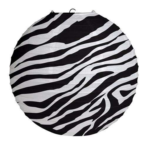 Animal Print Round Paper Lanterns - Zebra