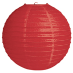 Red Round Paper Lanterns - 12 Inches