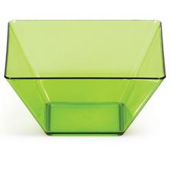 "Translucent Green Square Plastic Bowls - 3.5"""