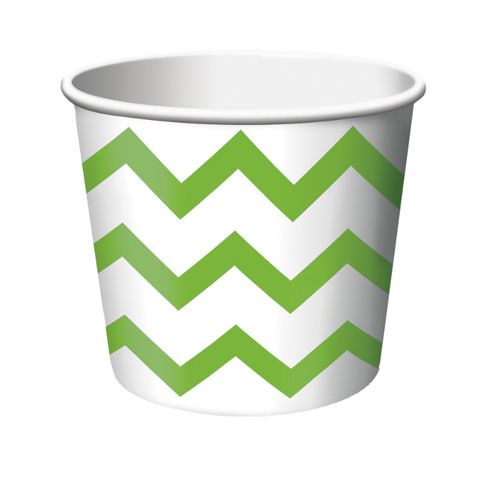 Lime Green Chevron Paper Treat Cups