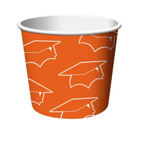 Orange Congrats Graduation Paper Treat Cups