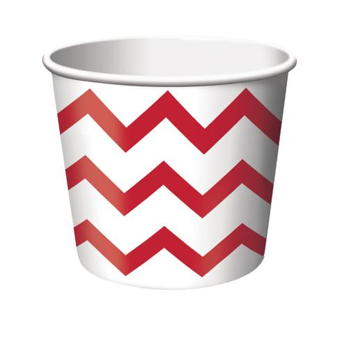 Red & White Chevron Stripe Paper Treat Cups