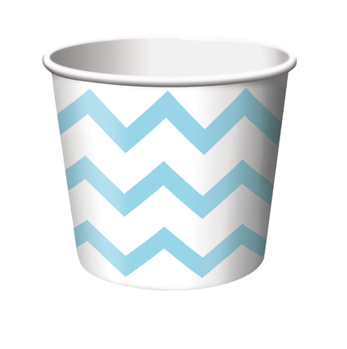 Pastel Blue Chevron Stripe Paper Treat Cups