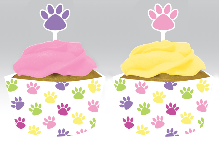Kitty Birthday Cupcake Wrappers and Picks