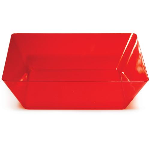 "Square Red Plastic Bowls - 11"""