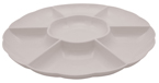 White Round Plastic Compartment Trays – 16 Inches