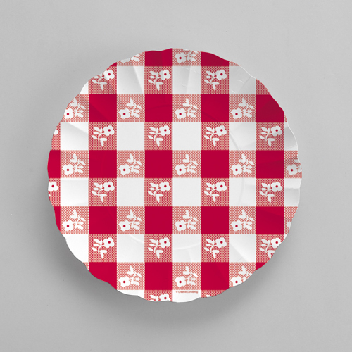 Red Gingham Paper Serving Trays