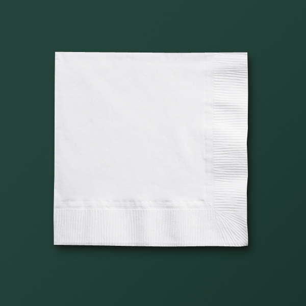White Recycled Beverage Napkins - Cocktail