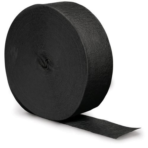 Black Crepe Paper Streamers - 500 Feet