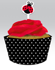 Ladybug Themed Cupcake Wrappers and Picks