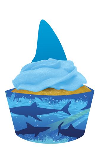Shark Birthday Cupcake Pick and Wrap Sets
