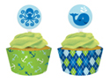 Whale Themed Cupcake Pick and Wrap Sets - Boy