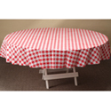 Red Gingham Round Plastic Table Covers - 84 Inch