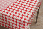 Red Gingham Plastic Table Cover Rolls - 300 Ft Lightweight