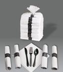 Rolled Linen Like Napkins & Black Plastic Silverware