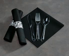 Black Pre-Rolled Napkins with Clear Plastic Silverware
