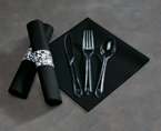 Black Rolled Napkins with Clear Plastic Cutlery