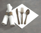 Rolled Linen Like Napkins & Chocolate Brown Plastic Cutlery